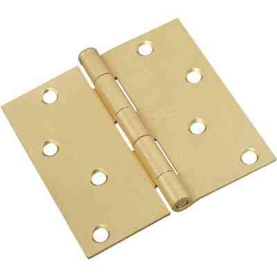 National 4 In. Square Satin Brass Door Hinge