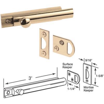 Defender Security 3 In. Polished Brass Door Surface Bolt