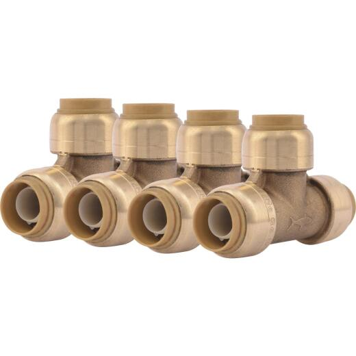 SharkBite 1/2 In. x 1/2 In. x 1/2 In. Brass Push-to-Connect Tee (4-Pack)