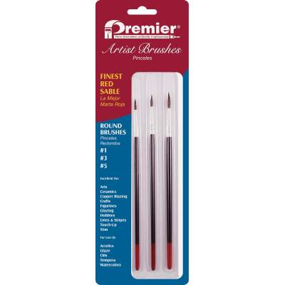 Premier Assorted Red Sable Round Artist Brushes (3-Pieces)