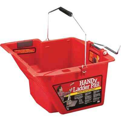 HANDy Ladder Pail 1.5 Gal. Red Painter's Bucket with Fixed Ladder Bracket And Magnetic Brush Holder